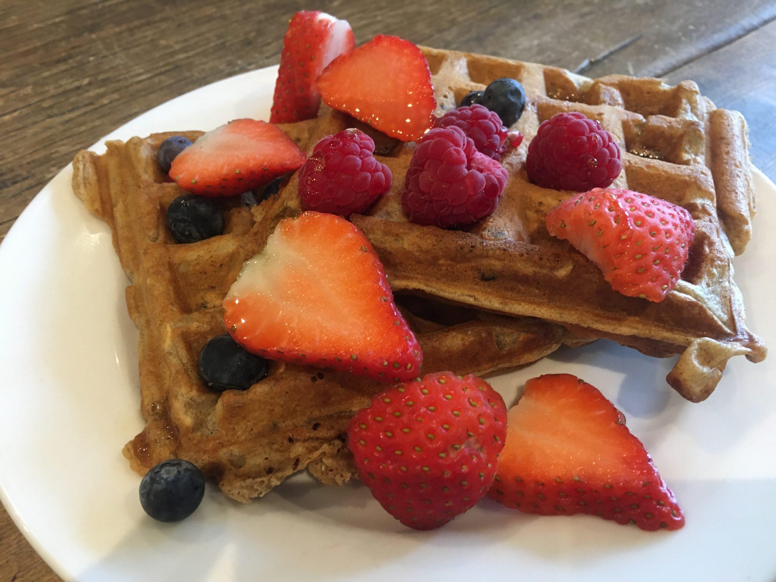Fresh fruit waffles